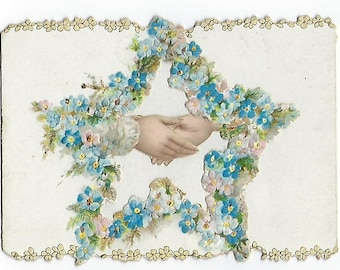 1896 Folding Die Cut Victorian Christmas card: Hands and Forget Me Nots