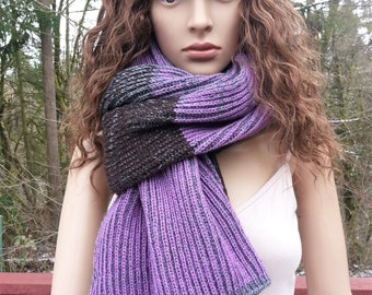 Grey, Brown, Lilac Chunky Knit Scarf.  Alpaca, Merino Wool and Acrylic Scarf. Wool Scarf. Winter scarf. Gift for her.