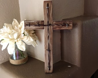 Rustic Wooden Wall Cross Decorative Cross Religious Cross Reclaimed Wood Home Decor Wall Hanging