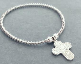Sterling Silver Mini Disc Cross Bracelet