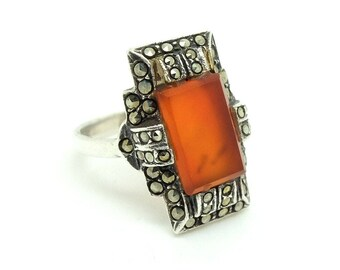 Carnelian Ring | Art Deco Ring | Marcasite Ring | 1920s Ring | Orange Silver Ring | Deco Jewelry | Marcasite Silver Ring | Statement Ring