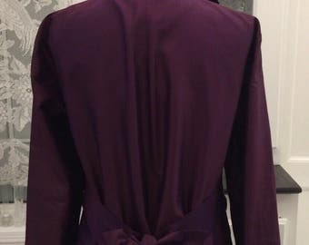 Curvy Silk Jacket/XXL Deep Purple Jacket/Formal Jacket/Royal Purple Silk Jacket/Gift for Her/Formal Topper