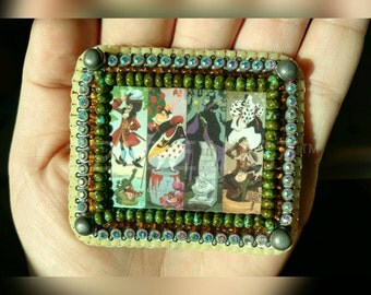 "Uniquely Stitched 2"" × 2.5"" Disney Villians Beaded Pin"
