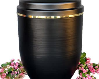 Black Metal Cremation Urn for Ashes with Gold Band Funeral Urn For Adult UMA16
