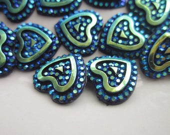 30 Plastic Cabochons, Sparkly Metallic Blues and Greens, 11.5 mm Heart Shaped