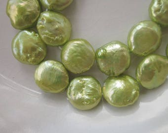 """Freshwater Coin Pearls, Chartreuse Green, 14mm Flattened Coin Shape, 16"""" Strand"""
