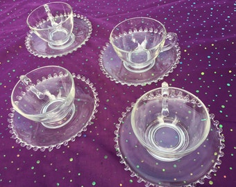 Vintage Candlewick cups and saucers (set of 4)