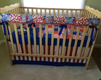 Crib Bedding Set-BOY, Baseball, Red, White, Blue