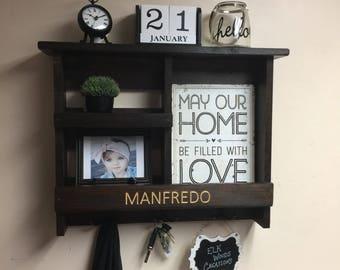 Wedding Gift   Rustic Engraved Organizer   Mail Organizer   Personalized Doorway Organizer   Rustic Wooden Shelf