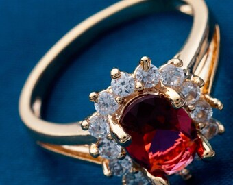 Royal 18k Gold plated Red topaz and simulated diamond ring