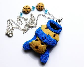 Cookie monster big necklace. Handmade of polymer clay