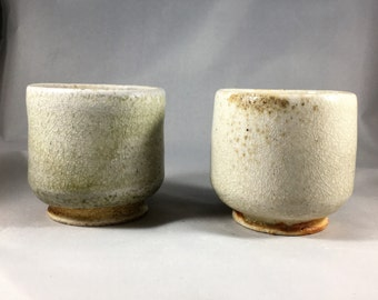 Set of 2 ceramic yunomi, tea cups. Woodfired Japanese style, wood fired with shino glaze.