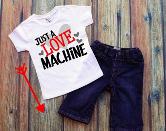 Just a Love Machine Tee, Boys V-day Tee, Boys Valentine Tee