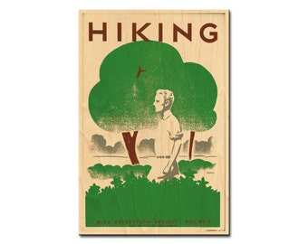 Hiking - WPA Poster - wooden postcard, wedding table number, wood print, wood wall decor