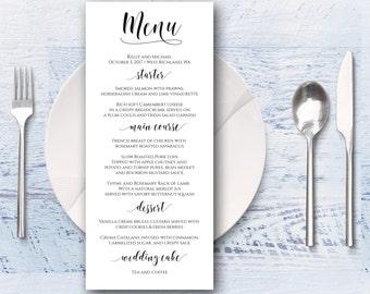 Wedding Menu, Printable Menu, Dinner Menu, Menu Printable, Custom Menu, Classic Menu, Simple Menu, Neutral Menu, Party Menu, Digital Menu