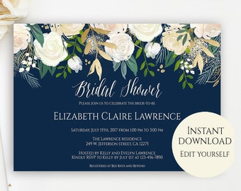 Bridal Shower Invitation Template, Editable Template, Bridal Shower Invitation, Editable PDF, PDF Template, Navy Bridal Shower Invite, DIY