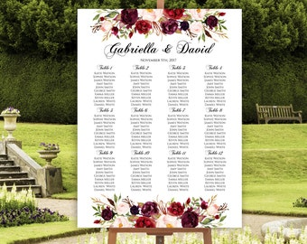 Wedding Seating Chart Template, Marsala Wedding Seating Chart, Seating  Chart Poster, Floral Seating
