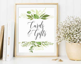 Cards And Gifts, Wedding Sign, Gifts And Cards, Wedding Cards Sign, Wedding Decor, Table Sign For Cards, Reception Sign, Greenery Wedding