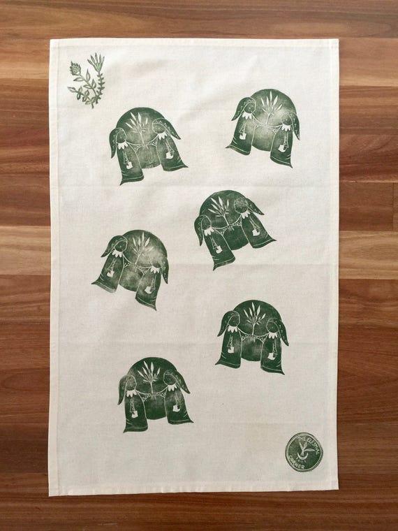 Full Moon And Friends Handprinted Tea Towel