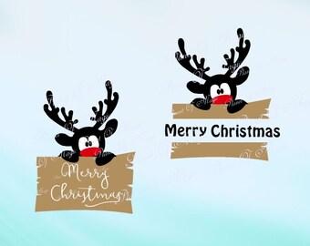 Merry Christmas Svg, Reindeer SVG File, Rudolph Svg, Christmas Cutting File, Reindeer DXF, Peeking Silhouette, Christmas Sign Svg, Cricut