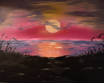 Lake Sunset Painting