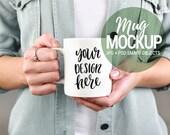 Girl holding mug, Mug mockup, Stock photos, Coffee mug mockup, Quote mockup, White mug mockup, feminine stock, Pink stock,