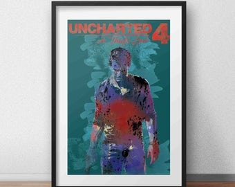 Uncharted 4, A Thief's End Poster, Playstation, videogame gift, video game room, video game artwork, Gamer, geek wall decor, PS4, Xbox one