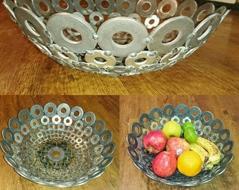 Rustic decorative fruit bowl made with washers and nuts