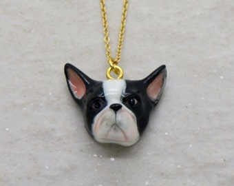 Hand Painted Porcelain French Bulldog Head Necklace, 18 Inch Chain, Vintage Style Dog, Ceramic Animal Pendant FREE DOMESTIC SHIPPING ()