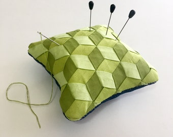 "4"" x 4"" Meshwork Pincushion - Lime Green - Fabric Weaving"
