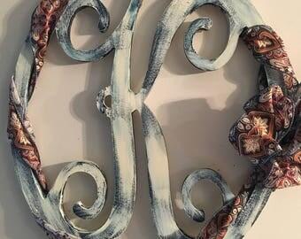 Monogram wreath with ribbon