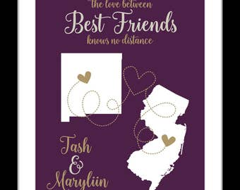 Best friend gift, long distance map, birthday gift for best friend, gift for bff, bestie gift, going away, collegespring decor easter