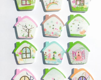 House Buttons ~ Home Buttons ~ House Shaped Buttons ~ Wooden Buttons ~ House Embellishments ~ Card Making ~ Scrapbooking ~ Sewing