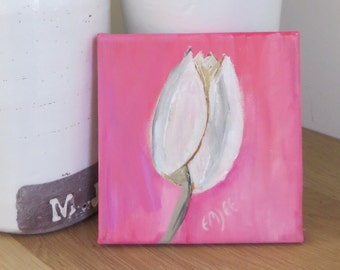 """square acrylic painting, 6""""x6"""", small art, pink and white"""