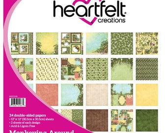 Heartfelt Creations Monkeying Around Collection Paper Pad - Monkey Scrapbook Paper - 12x12 - Yellow And Brown Paper - Monkey Cardstock Paper
