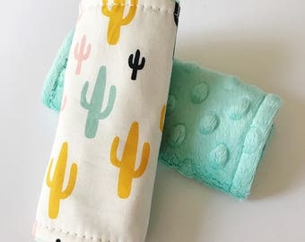 Cactus Car Seat Strap Covers, Cactus Strap Covers, Southwestern Car Seat Strap Covers, Minky Strap Covers, Baby Car Seat Accessories