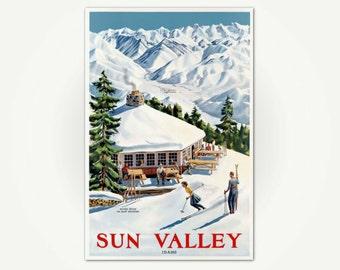 Sun Valley Poster Print - Vintage Ski Poster - Sun Valley Idaho Skiing Poster Art - Round House on Baldy Mountain