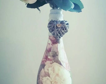 Decoupaged Bottle, Decorative Bottle, Flowers, Peonies, Roses, Decoupage Art, Recycled Bottle, Wine Bottle, Wedding Centrepiece, Shabby Chic