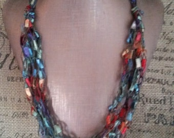 Multicolour Shades Hypoallergenic Necklace Crocheted out of Ladder/Ribbon yarn, Multi strand
