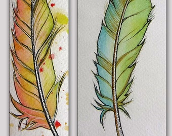 Feathers Painting-Original  Watercolor and Acrylic Pen- Watercolor Feather-Free Shipping-Not a Print