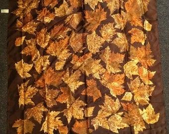 Vintage St. Michael Rayon Satin Brown Maple Leaf Scarf