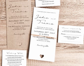 Personlised Wedding Invitation Sets with envelope & name guest band options