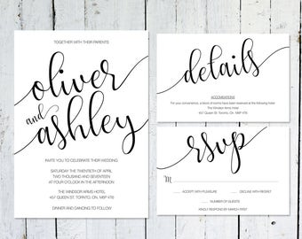 Wedding Invitation Set, Modern, RSVP Card, Details Card, Printable, Wedding Suite, Typography, Calligraphy