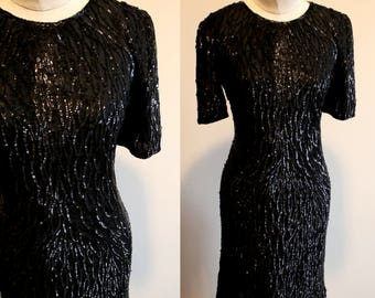 Silky Nites: Black Beaded and Sequin Mini Dress