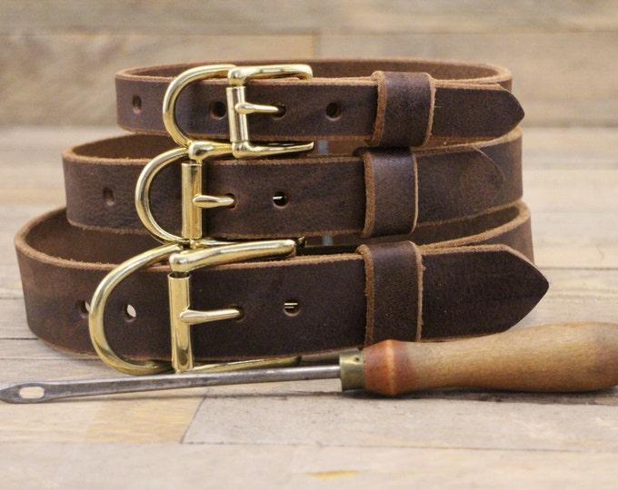 Classic dog collar, Premium dog collar, Dog collar, FREE ID TAG, Customised collar, Dark brown collar, Solid brass, Handmade collar, Brown