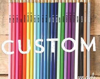 Custom Pencils By The Dozen, Foiled Engraved, Fun Gift Bright Favor Announcement, Birthday Wedding Baby School Team Spirit, Office Supplies