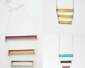 Triple Tier Bar Stained Glass Necklace