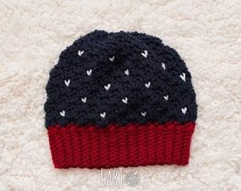 American Flag Beanie - Crochet Hat with Pom Pom - Veterans Day