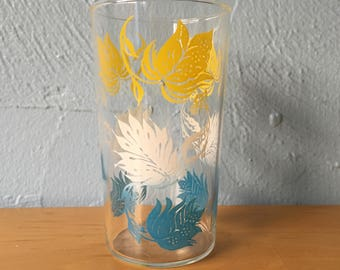 FREE SHIPPINGBlue Yellow White Leaf Peanut Butter Glass