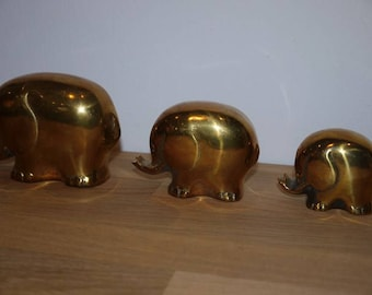 Brass Elephant - Family - Mid Century - Statue - Animal - Vintage -